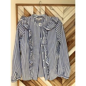 striped ruffle-front blouse | madewell | s
